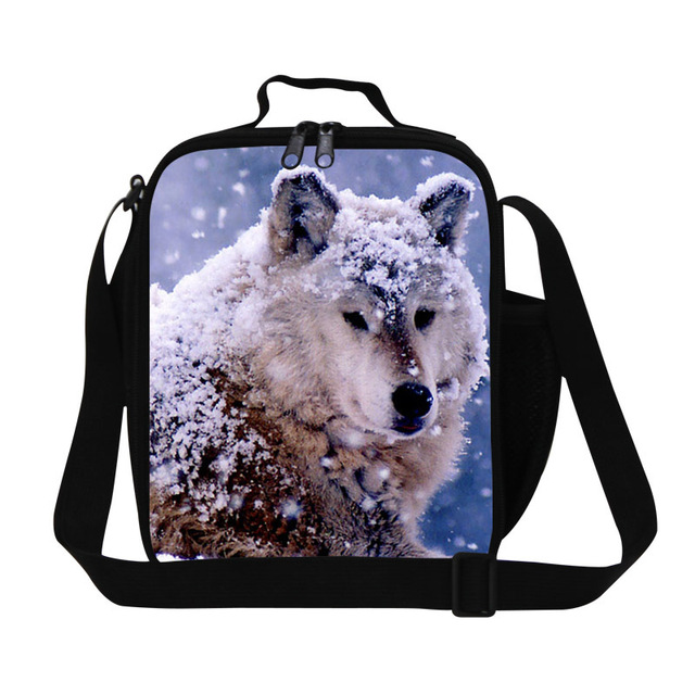 Personalized wolf lunch bag for cool boys school,adult insulated food bag for work,children's cool lunch box,sling meal bags