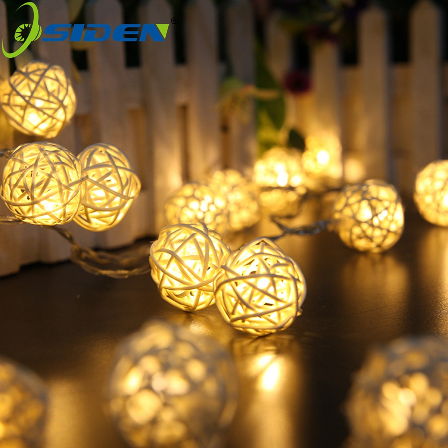 OSIDEN Rattan Ball LED String Light 5M 20Led Warm White Fairy Light Holiday Light For Party Christmas Wedding Decoration