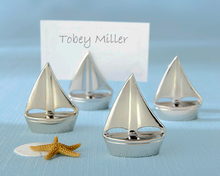 """New Arrival Factory Directly Sale Wedding Favor """"Shining Sails"""" Silver Place Card Holders Wholesale"""