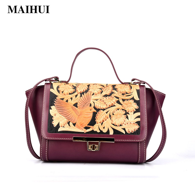 Maihui elegant women leather handbags high quality shoulder bags new national flower embossed genuine leather trapeze tote bag classic black leather tote handbags embossed pu leather women bags shoulder handbags elegant