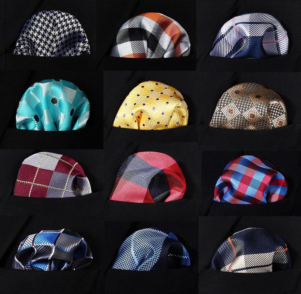 Check Polka Dot Paisley Floral Stripe Men Silk Satin Pocket Square Hanky Jacquard Woven Classic Wedding Party Handkerchief #RC1