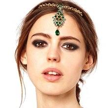 Женские украшения для волос на лбу, свадебная заколка, свадебные индийские аксессуары для волос, Зеленый Кристалл, спереди, головной убор, цепочка из страз для головы