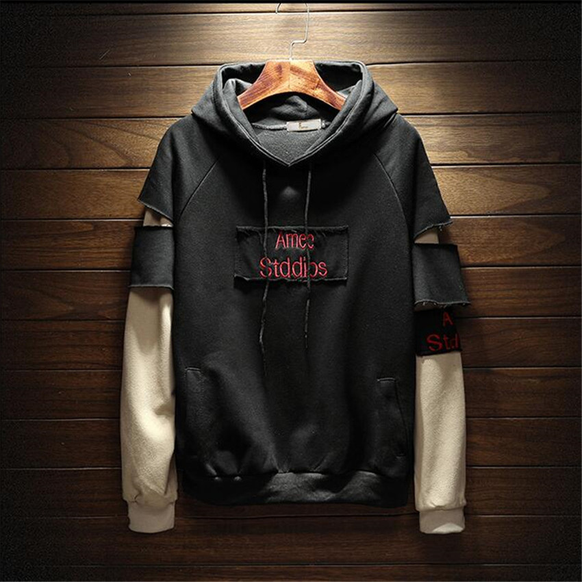 2018 New Men Hoodies Sweatshirts Loose Large Size Men's Hooded Shirt Mens Fashion Brand Cuff Stitching Men Hoodies Letter Print