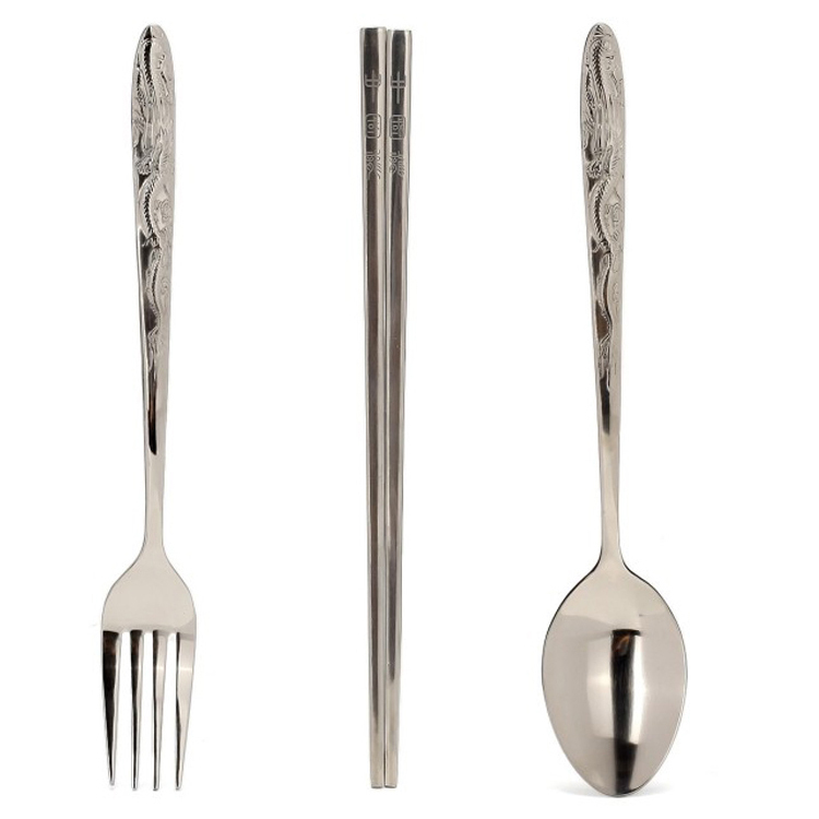 3pcs/set Pure Titanium Chinese Dragon Line Fork Spoon Chopsticks Lunch Kit Meal Kit Tableware For Outdoor Camping Picnic high quality fork and spoon set for outdoor camping picnic hiking