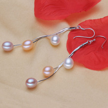 925 silver real natural big Bright pearl genuine freshwater 7mm 8mm drop pearl earrings earrings classic