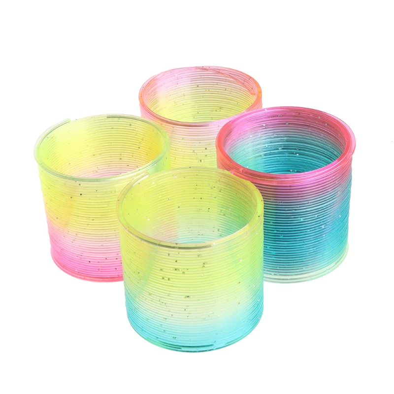 Novelty & Gag Toys Toys & Hobbies Glow In Dark Magic Plastic Slinky Rainbow Circle Spring Toy Flashing Colorful Children Funny Classic Gift With Traditional Methods