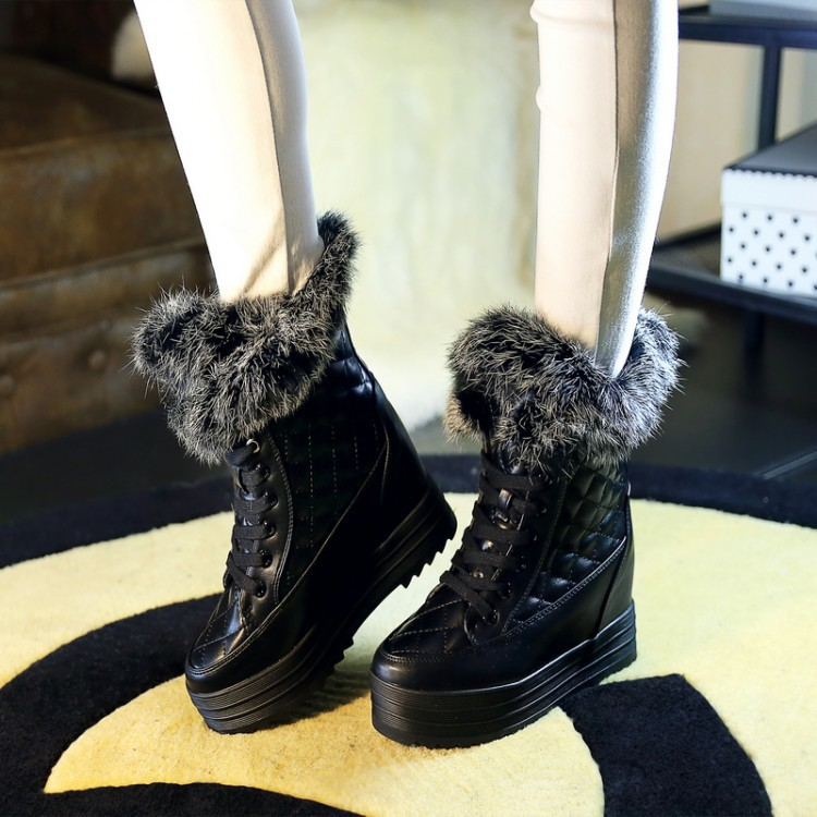 Women Winter Genuine Leather Rabbit Fur Height Increase Elevator Lace Up Chunky Heel Fashion Ankle Snow Boots Size 35-39 SXQ0818