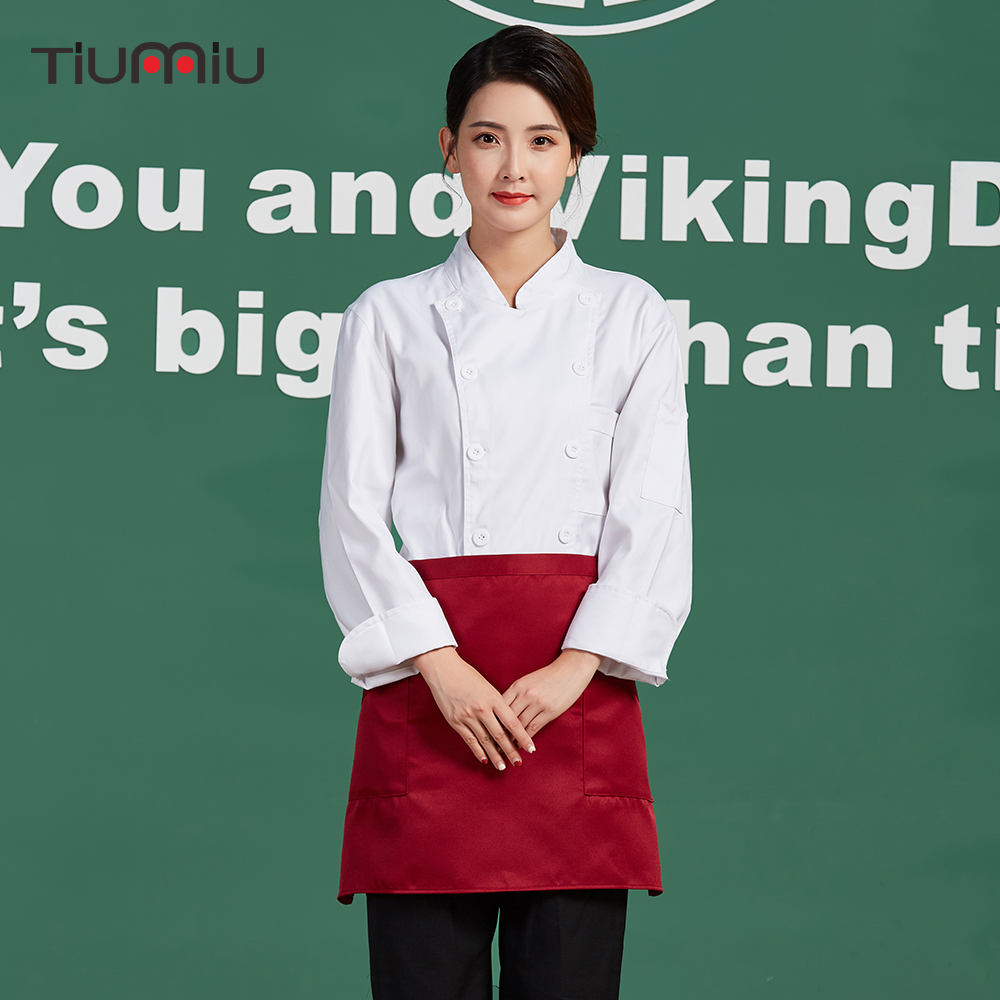 2018 Unisex Chef Coat Work Uniforms Food Service Restaurant Bakery Kitchen Work Wear Cloth Long Sleeve Breathable Cook Jackets