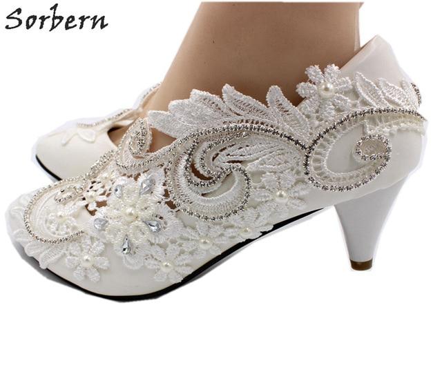 Sorbern Elegant Med Heel Wedding Shoes Luxury Crystals Lace Appliques Pump  Heels Comfortable Bridal Shoes Pointed Toe Heels 8b132583095c
