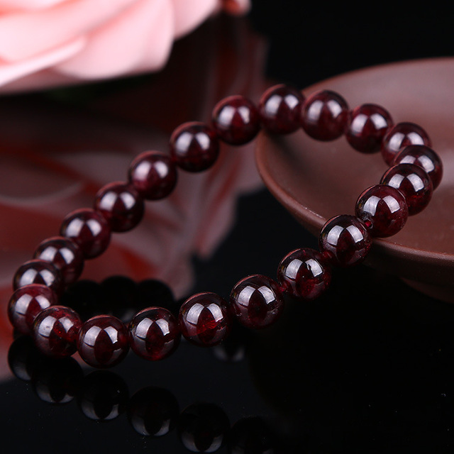 Natural Wine Red Garnet Bracelet Unisex 1