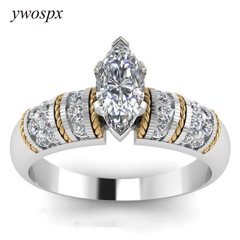 ywospx high quality cubic zirconia silver gold color ring. Black Bedroom Furniture Sets. Home Design Ideas