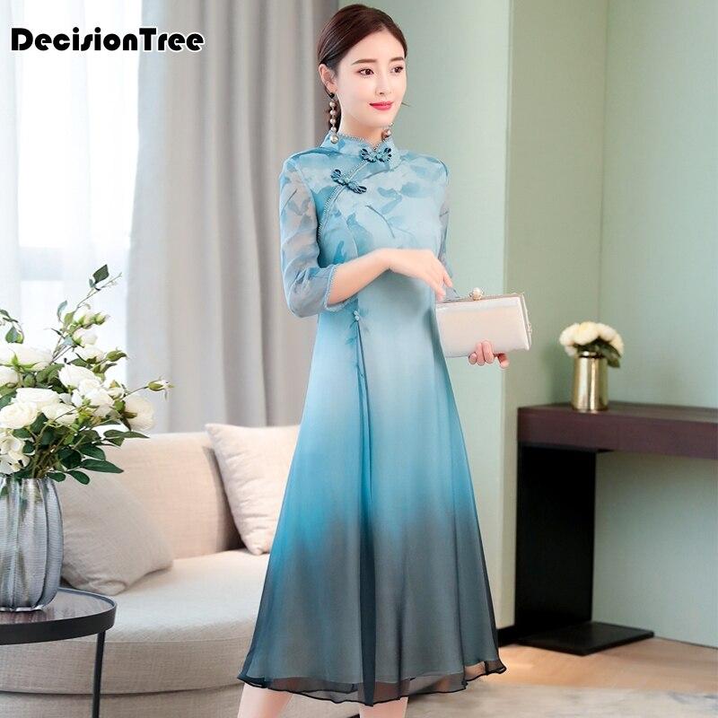 2019 Traditional Daily Modern Cheongsam Chinese Dress Short Sleeve Wedding Qipao Robe Chinoise Vestido Oriental Dresses