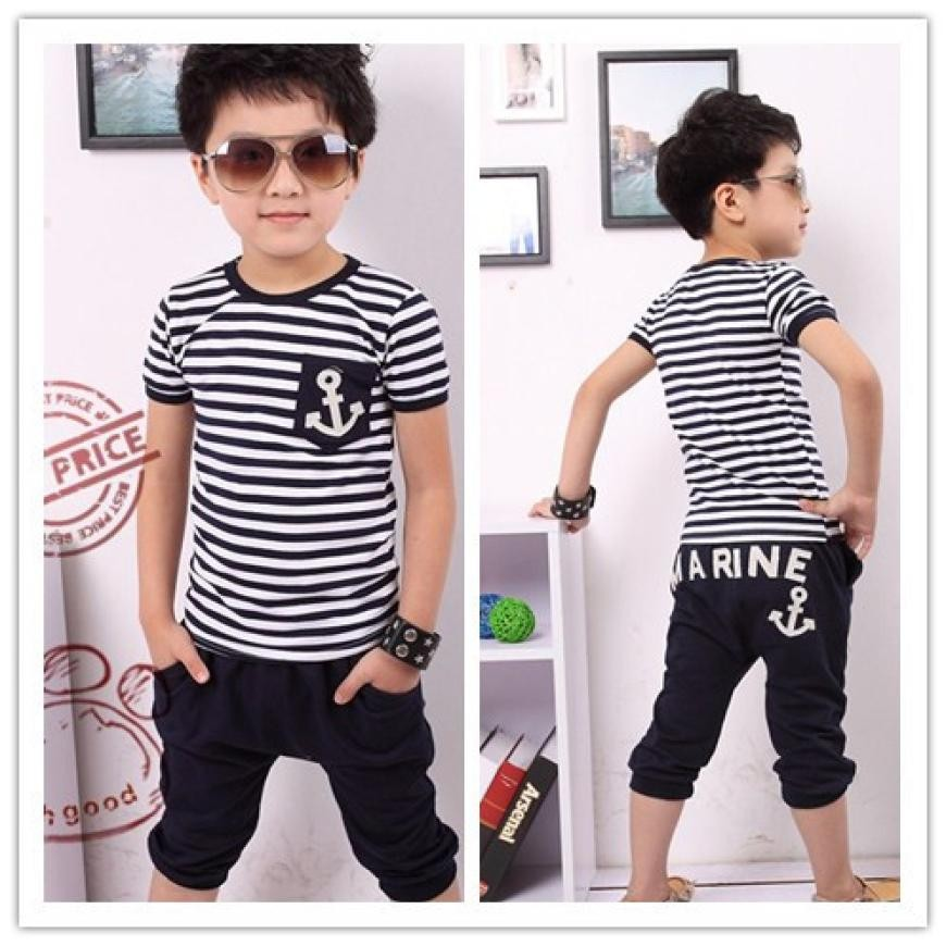 MUQGEW Summer Kids Clothes, Navy short Sleeve Pullover Striped Sports Suit, Hot Sale New 2018 Casual Boys Clothing Set