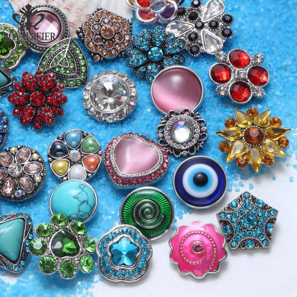 RoyalBeier 100pcslot Mixed Top Rhinestone Metal Button Charms 18mm Snap Button For 20mm Snap Bracelet Snap Jewelry KZHM075