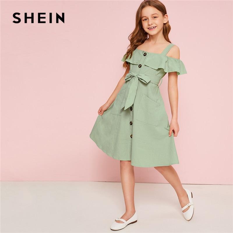 ab060611f3 SHEIN Kiddie Green Cold Shoulder Ruffle Trim Belted Boho Shirt Dress 2019  Summer Button Front High Waist Knee Length Cute Dress