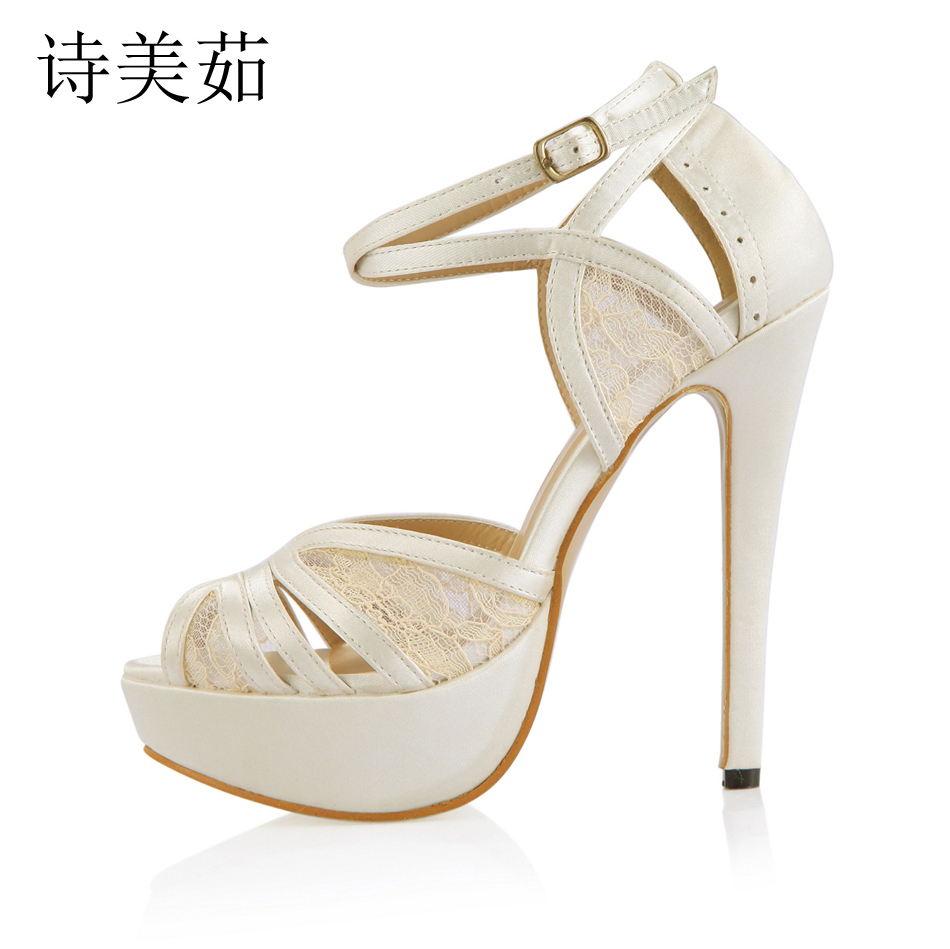 2016 Spring Ivory Satin Elegant Wedding Party Women's Shoes Peep Toe Stiletto Heel Bridal Platform Sandals with Buckle 3463SL-p1 more colors el 035 women green teal peep toe bridal party sandals rhinestones t straps buckle strap satin wedding shoes