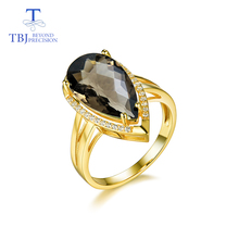 TBJ,100% natural smoky quartz pear10*18mm gemstone Ring for women in 925 sterling silver gemstone fine jewelry with gift box tbj feather gemstone ring with natural ethopian opal good fire in 925 sterling silver fine jewelry for girls with jewelry box
