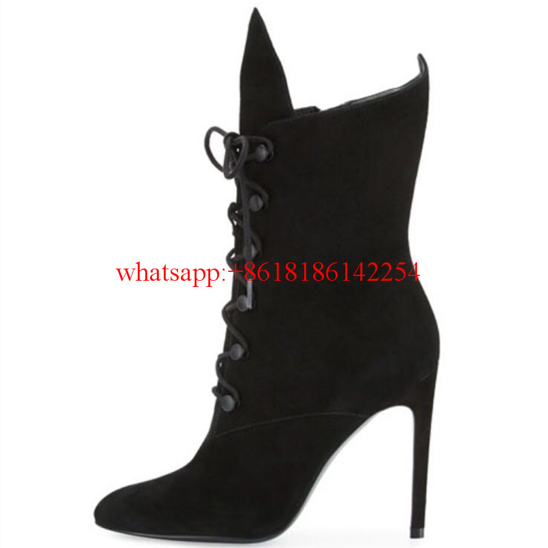 2016 New Arrivals Super Star Brand High-heeled Boots Sexy Ladies' Lace-up Pumps Autumn Winter Women Thin High Heel Custom Shoes