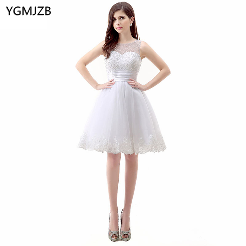 Little White   Dress     Cocktail     Dresses   2018 A Line Cap Sleeve Stunning Beaded Appliques Lace Party   Dress   Homecoming   Dress