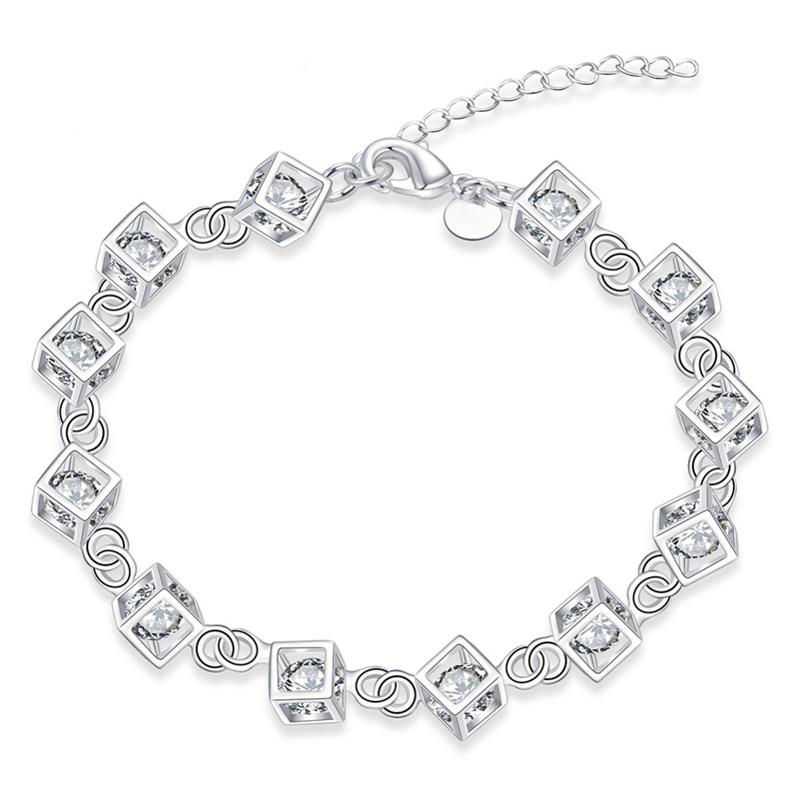 b88d6adc9b3d Joyería clásica de las mujeres plata plateada encanto pulsera Femme 2016  moda cadena marca de calidad superior para las mujeres pulsera