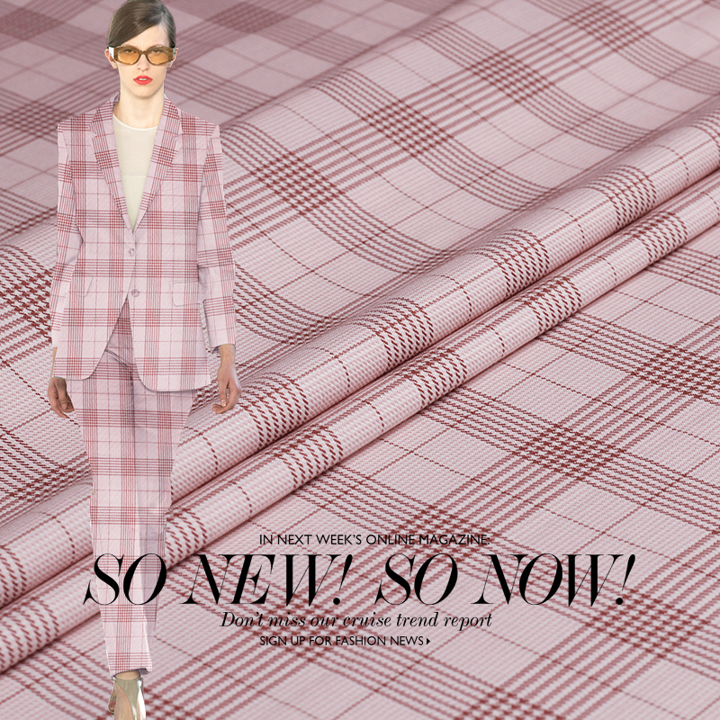 Soft pink checked high count worsted wool spring and autumn suit jacket garment handmade diy fabrics