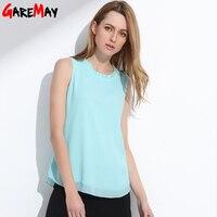 GAREMAY Shirt Women Summer Chiffion Tops White Sleeveless Blouses For Women Clothes Ruffle Elegant Vintage Feminine