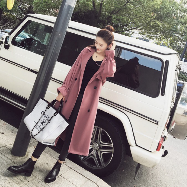 2017 Spring Autumn New Double-breasted Thin Drawstring Sleeves Long Windbreaker Women Knee Suit Collar Straight   Trench   Coat