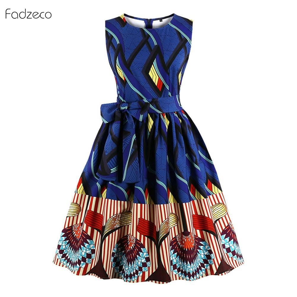 Fadzeco African Clothes For Women Dashiki Dress Ancara Ethnic Pattern 2019 Hot Ladies Clothes Printting Summer Party Plus Size