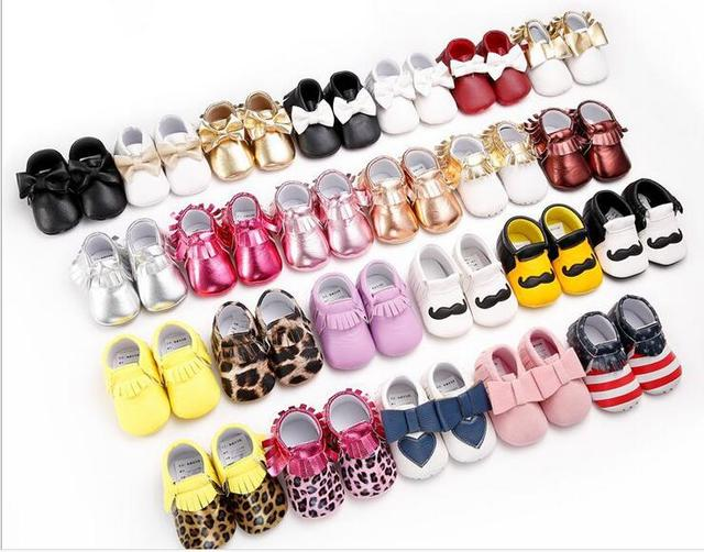 19color New Shine Pink Genuine Leather Baby moccasins First Walkers Soft Rose gold Baby girl shoes infant Fringe Shoes 0-30month