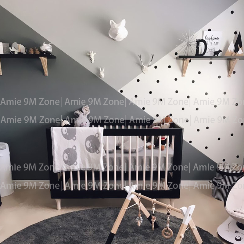 Us 16 79 40 Off Black And White Dots Color Block Wallpapers Child Wallpaper Children Wall Decor Kid S Nursery Room Mural In