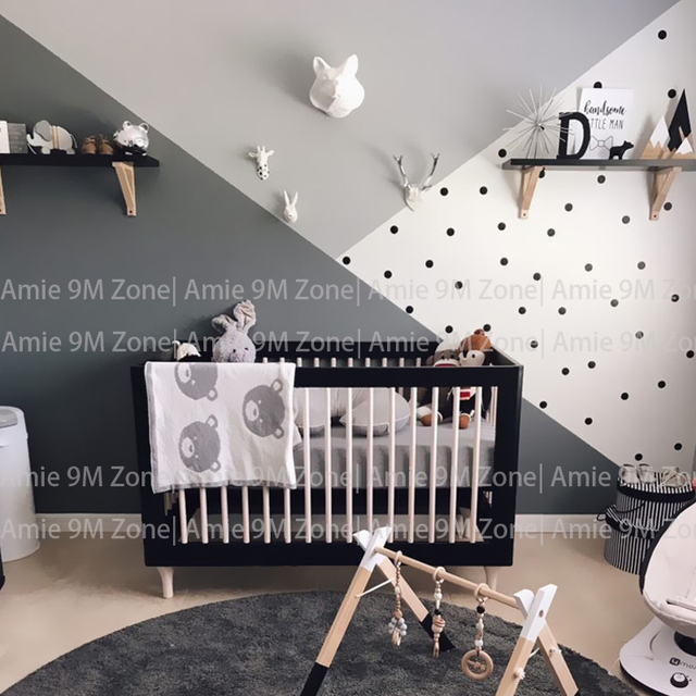 Black And White Dots Color Block Wallpapers Child Wallpaper Children Wall Decor Kid S Nursery