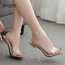 BYQDY New PVC Woman Sandals Clear Transparent Buckle Strap High Heels Shoes Plus Size 35-42 zapatos mujer 2019 Stiletto