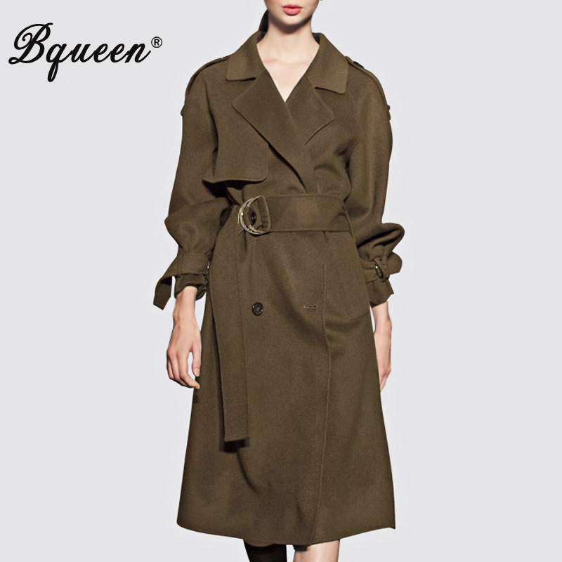 Bqueen 2017 Autumn & Winter New Fashion Army Green Double-breasted Temperament Slim   Trench   Coat
