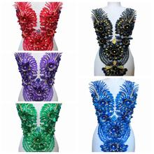 5 цветов 3dтрехмерные Цветочные кружевные цветы стразы украшение отделка патчи 62*34 см для платья передняя часть