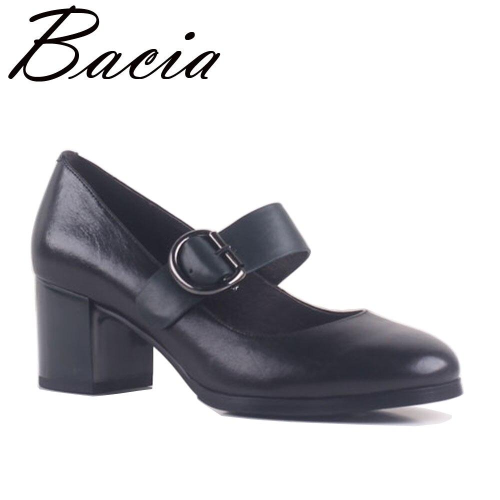 7ae119088bb0 Bacia Sheepskin Fashion Mary Jane Women Shoes Pumps Genuine Leather 5.8cm  Thick Heels Round Toe