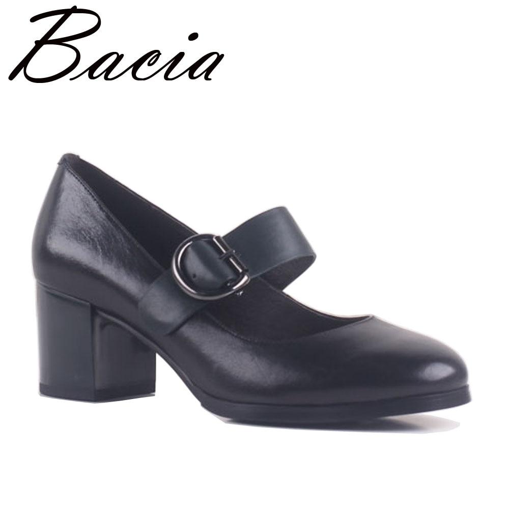 цена Bacia Sheepskin Fashion Mary Jane Women Shoes Pumps Genuine Leather 5.8cm Thick Heels Round Toe Pumps Fashion Brand Pumps SB012