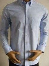 Обычный европейский размер мужчины в 100% хлопок длинный рукав синий оксфорд официальный рубашки QR-1506