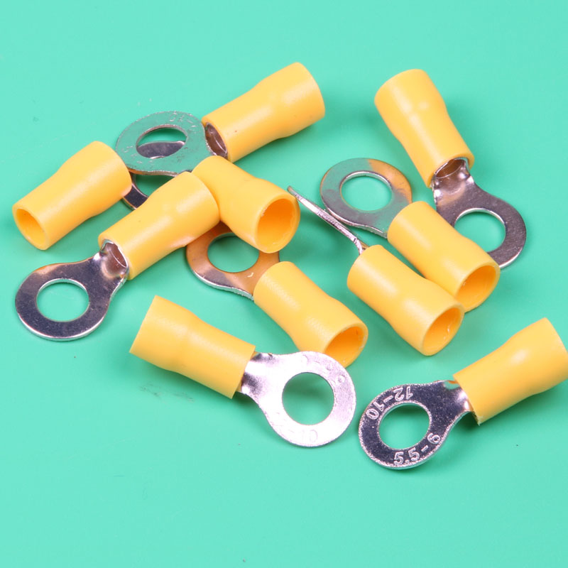 100pcs RV5.5 6 Vinyl Insulated Ring Terminals For 12 10 AWG, 4 6mm2 ...