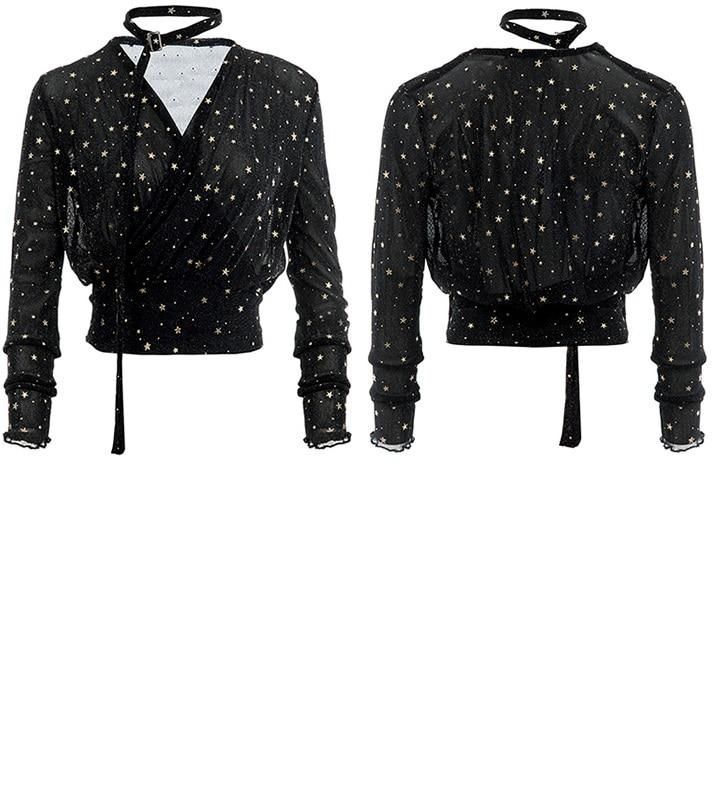 Maille Plus La Vêtements couleur Blouses Et Or 2018 Deux De Femmes Creux Femelle Blouse Taille Étoiles Soie Mousseline Argent Chemise ABfRqw0