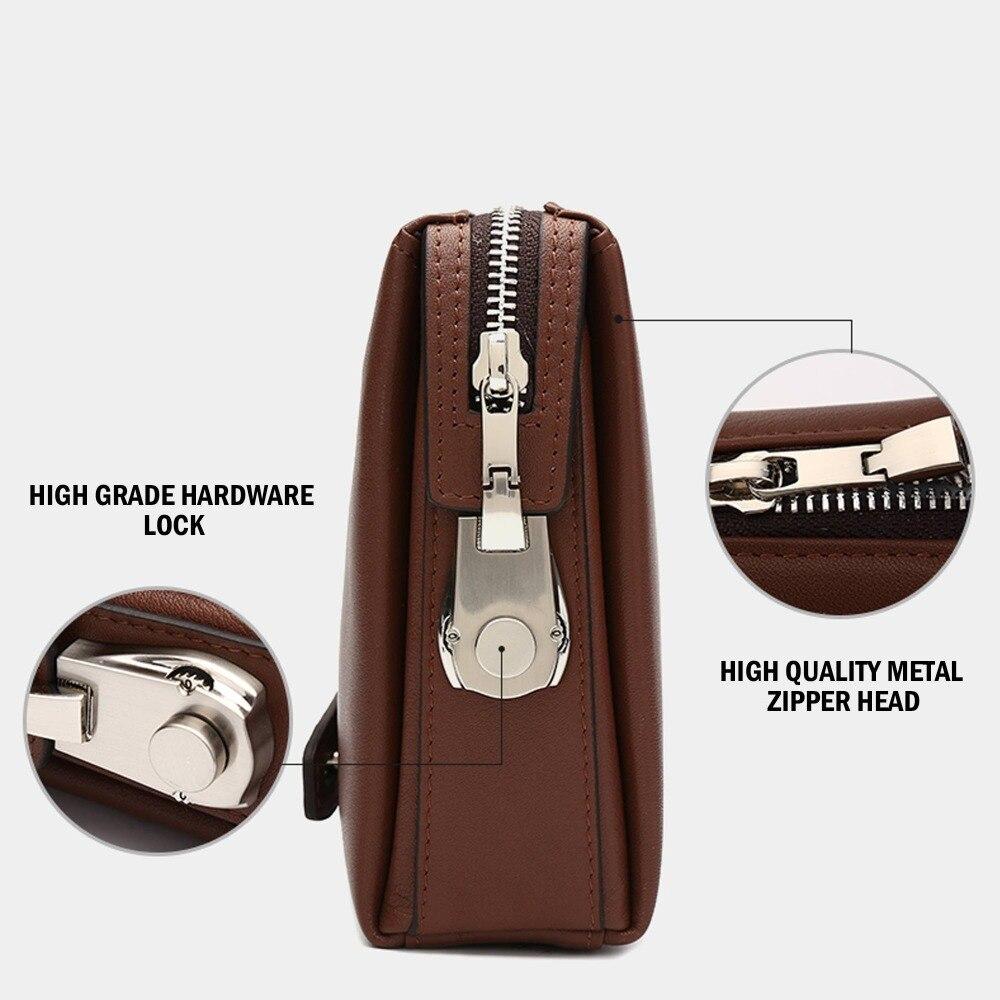 BISON DENIM en cuir véritable hommes portefeuilles d'embrayage mode Zipper homme portefeuille hommes sac à main Long téléphone portefeuille hommes pochette N8015 - 4