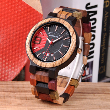 BOBO BIRD Unique Dail Auto Date Colorful Wood Band Wrist Quartz Watches 1