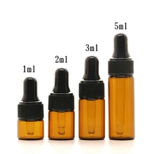 100pcs/lot 1ml 2ml 3ml 5ml Empty Dropper Bottle Portable Amber Glass bottle Esstenial Oil Bottle with Glass Eye Dropper