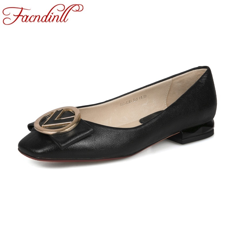 FACNDINLL Hot sale luxury brand design genuine leather pumps women metal buckle V shape low heel office ladies pumps dress shoe facndinll genuine leather sandals for