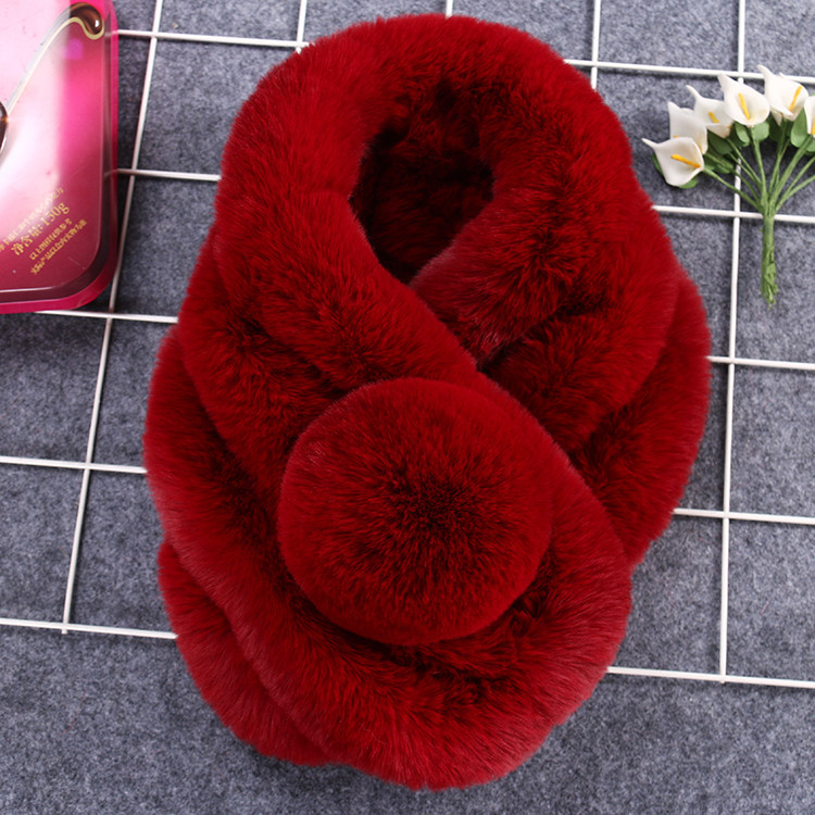 New Lovely Soft 100 Real Rabbit Fur Collar For Women Cute Pompom Winter Scarf Female Solid Thick Warm Fur Scarves Luxury Brand in Women 39 s Scarves from Apparel Accessories