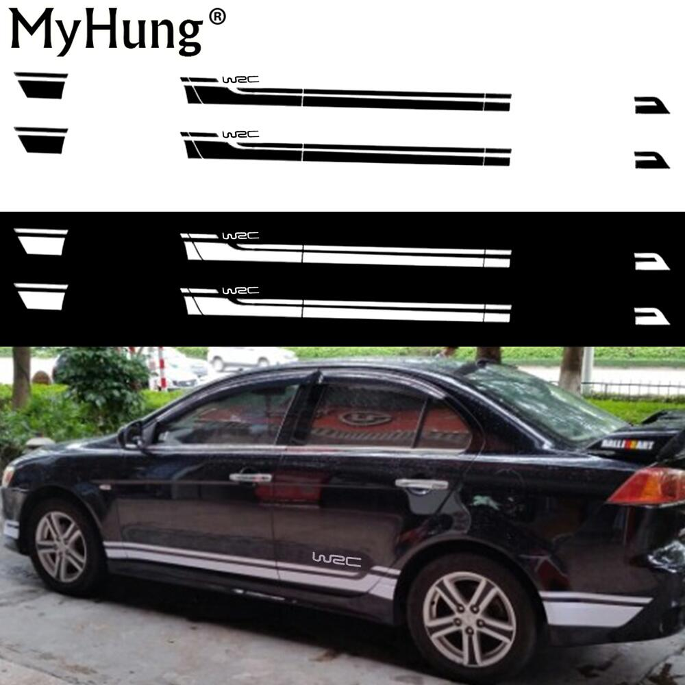 For Mitsubishi Lancer WSC Car Body Sticker Racing Car Side Skirt Decor Stickers And Decals Diy Modified Vinyl Car Styling 2pcs car styling auto amg sport performance edition side stripe skirt sticker for mercedes benz g63 w463 g65 vinyl decals accessories