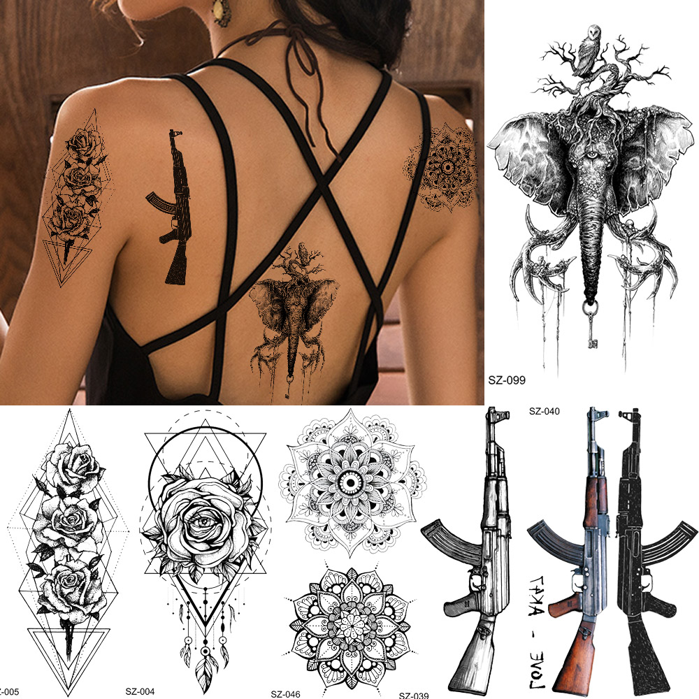 Rejaski Small Geometric Women Tattoo Sticker Black Eye Rose Flower Totem Temporary Tattoo Men AK47 Gun M416 Fake Tatoo Body Arm