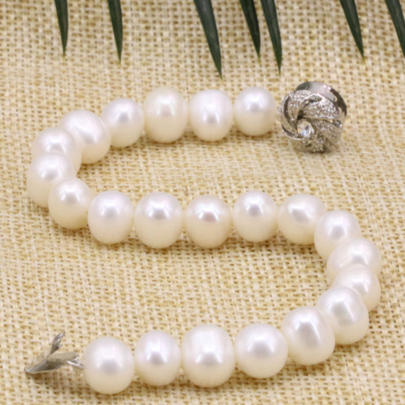 3 Type Pearl Beads Bracelet Bangle White Freshwater Natural Pearls 8-9mm Strand Bracelets Bangle For Women Jewelry 7.5inch B3177