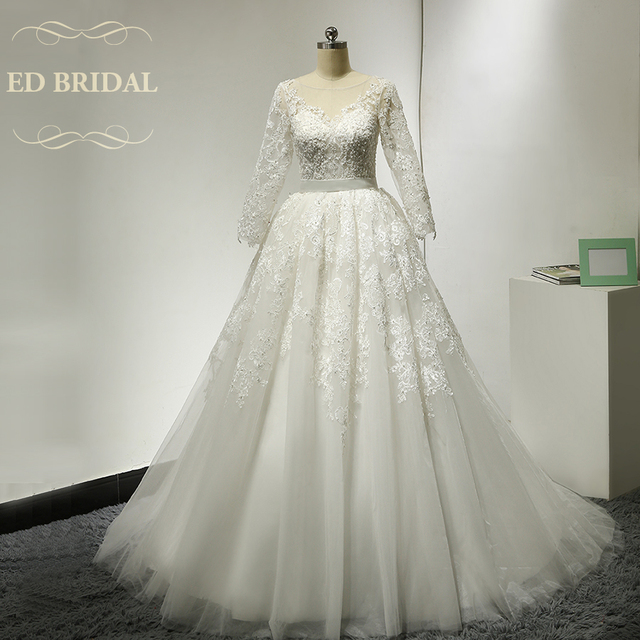 Long Sleeves Tulle Ball Gown Wedding Dresses With Beaded Lace Liques Y See Through Top