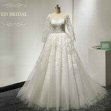 Long Sleeves Tulle Ball Gown Wedding Dresses with Beaded Lace Appliques Sexy See Through Top Wedding Gown robe de mariee