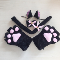 1Set 2016 New Anime Cosplay Costume Cat Ears Plush Paw Claw Gloves Tail Bow Tie Cute